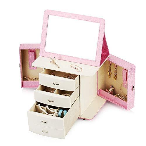 AYHa Pink Jewellery Box Organizer, Jewellery Box Jewellery Armoire Halskette Ring Armband Aufbewahrungshalter Vintage Case Geschenk 26Cm X 33Cm X 24Cm für Ringe Ohrringe Halskette,Rosa,Einheitsgröße