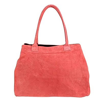 Craze London Womens Girls Handbags Open Top Real Italian Suede Leather Shoulder Bag (Coral)