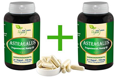 """VITAIDEAL VEGAN®""""MEGA-SPAR-POT"""" Astragalus Wurzel 2x360 pflanzliche Kapseln (Astragalus membranaceus, Tragant) je 550 mg, rein natürlich ohne Zusatzstoffe."""