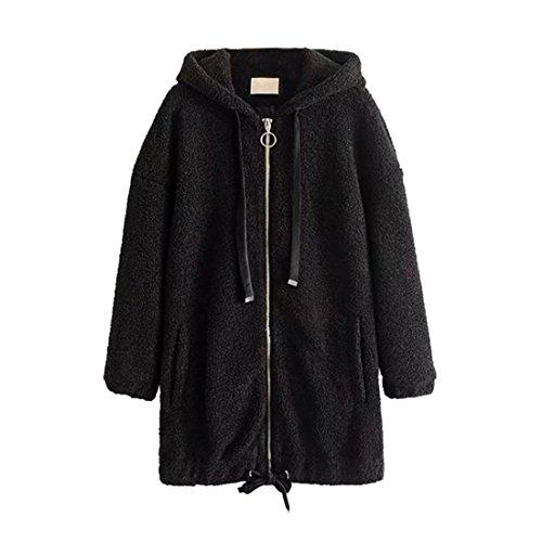 Langer Lammwoll Mantel für Frauen,FRIENDGG Damen Mädchen Damen Mädchen Lässige Set-up Täglichen Langarm Winter Solide Outwear Mantel Jacke Parka,mantel damen,schwarzer mantel damen (Schwarz, M)