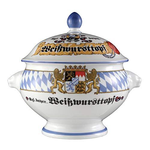 Seltmann Weiden Compact Bayern Löwenkopfterrine mit Deckel 2,1 L, Porzellan, Blau/Weiß/Gelb/Rot, 23.8 x 19.4 x 21 cm -