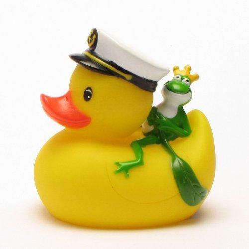 Kapitän Ente mit Froschkönig, Gummiente, Quietscheente