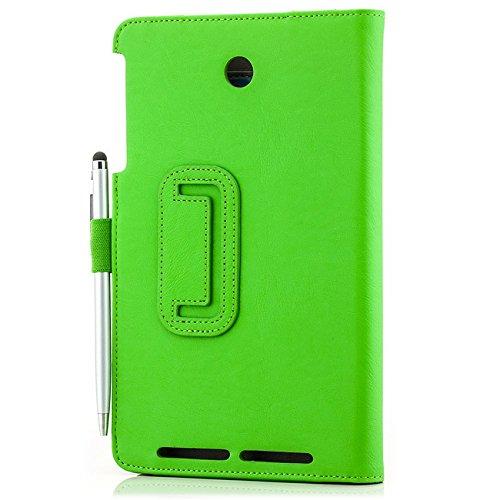 Saxonia Asus MeMo Pad 8 Hülle Case Tablet Tasche Schutzhülle Cover Premium Qualität mit Standfunktion + Touch Stift (Pen) Grün