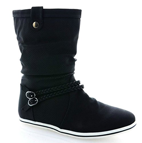 Neu Damen Stiefeletten Stiefel Warm Gefüttert Boots Flache Schlupfstiefel Schuhe 3777 (37, Schwarz)