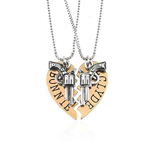 2ST Bonnie & Clyde Halskette Gold Silber Pistole Herz Beste Freunde Freundschaftskette Partnerkette (Strass Pistole)