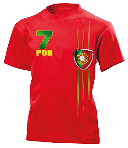 Portugal Fan Streifen 3215 Fussball Kinder Fanshirt Fun-T-Shirts Rot 140