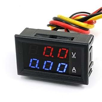 sourcingmap® DC 0-300V 0-2A rosso blu 7-segmento 3-punta LED doppio Display ammetro voltmetro