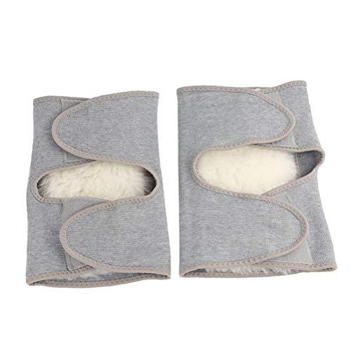 SUPVOX 2 Stück Kompression Kniebandage Knie Ärmel Warme Knieschoner Atmungsaktiv Knieschützer für Winter Outdoor Sport Radfahren - Größe L (Grau)