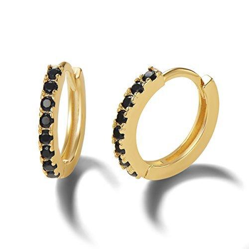 Plaqué or Jaune Argent sterling 925 Boucles d'Oreilles Hoop avec CZ Zircone cubique pour Femme, Diamètre: 11 mm - Noir