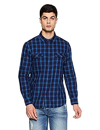 BUFFALO By FBB Men's Checkered Regular Fit Casual Shirt (1000857558-SF_Indigo_Small)