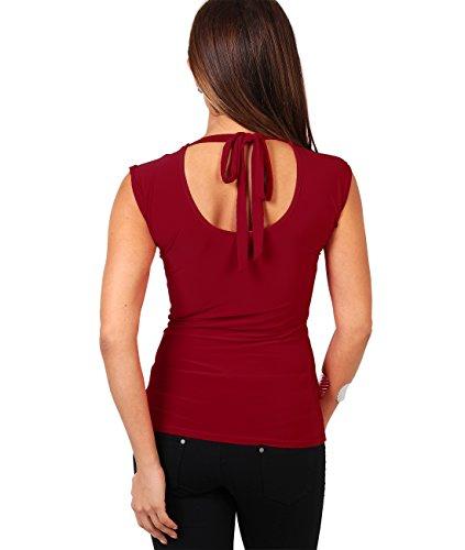 KRISP® Damen Elegantes Stretch Top mit Wasserfallkragen Weinrot (3540)