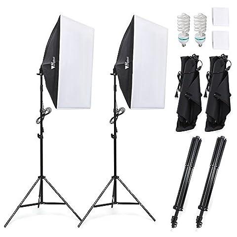 Amzdeal Kit de Lumière /Photographique Boîte à lumière 50x70cm Softbox éclairage Studio Photo (Pour des Effets d'éclairage Doux)