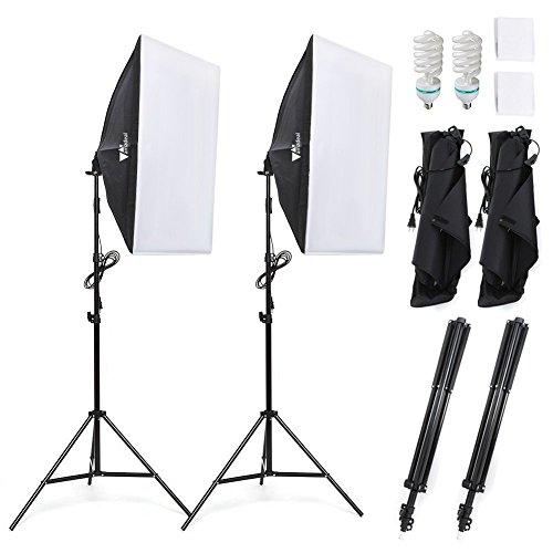 amzdeal Softbox Set mit 2 Studioleuchten, Lampenstativen & Lampen