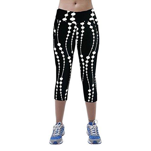 Femme Leggings de Sport, Tonsee Pantalon de Sport taille haute Fitness Yoga imprimé Stretch recadrée Leggings Noir