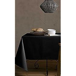Mantel de lino-algodón anti manchas, modelo Lino natural, resinado y con Teflón de Dupont® - 150x200 - negro