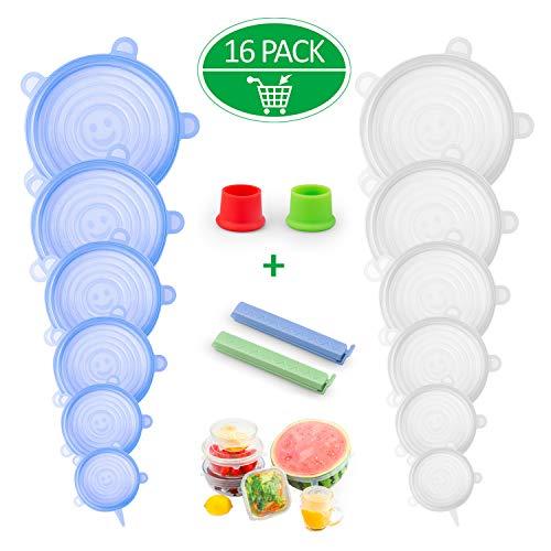 Splaks coperchio in silicone estensibile, 16 pack coperchi stretch conservazione alimenti coperchio per ciotole, piatti, barattoli, tazze(2mollette clip per sacchetti,2tappo di bottiglia)