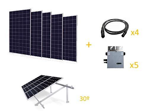 Kit solar fotovoltaíco de 1,65kW, incluye: - 5 paneles solares de 330W de la marca Iberian Solar, 72 células policristalino - 5 microinversores de 300W de la marca Omniksol - 4 Cables 1,1m - Estructura inclinada 30º para suelo, hormigón o aluminio (c...