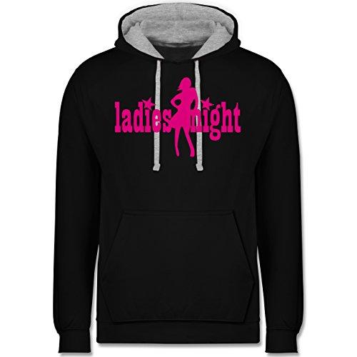 Typisch Frauen - Ladies Night - Kontrast Hoodie Schwarz/Grau Meliert