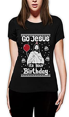 Ugly Christmas Sweater Go Jesus it's Your Birthday Frauen T-Shirt Slim Fit X-Large Schwarz