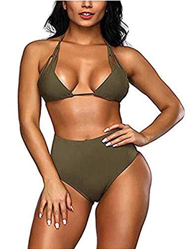 Kette Bikini-top (FeelinGirl Damen Zweiteiliger Neckholder Bikini Set Push up Tankini mit Bügeln M Grün)