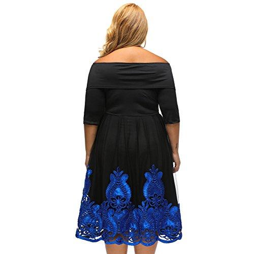 PU&PU Femmes Plus Size Casual / Sorties / Party Tube Broderie Patchwork robe fourreau, à l'épaule à trois quarts de manches blue