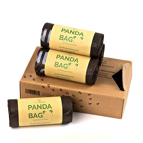 Planet Bamboo: Bolsas compostables de biorresiduos (7 a 10 L con mango | 100 piezas | Marrón) 100% compostables según EN 13432