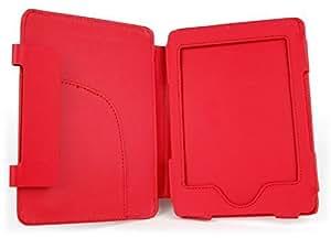 DURAGADGET Schutzhülle im Buch Stil - maßgefertigt - für den Amazon Kindle eReader + USB-Premium EU/DE Ladestecker, ROT