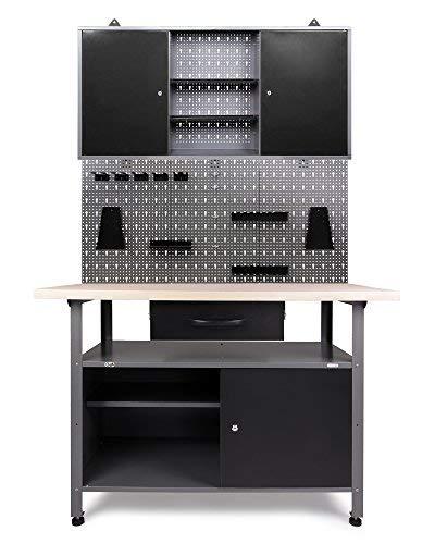 Ondis24 Werkstatteinrichtung Klaus, Metall, TÜV geprüft, 1 Werkstattschrank, Lochwand, Hakensortiment (Arbeitshöhe 85 cm, Schwarz)