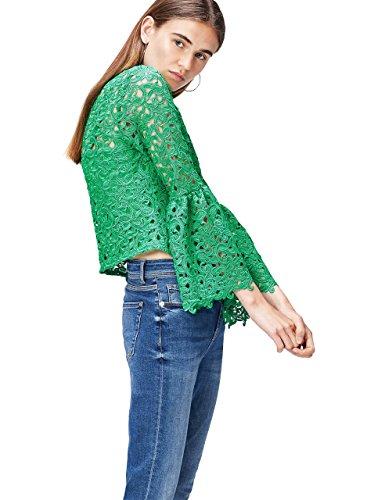 find. Bluse Damen mit gesticktem, halbdurchlässigem Muster, Trompetenärmeln und halbdurchlässigem Muster, Grün (Green), 38 (Herstellergröße: Medium)