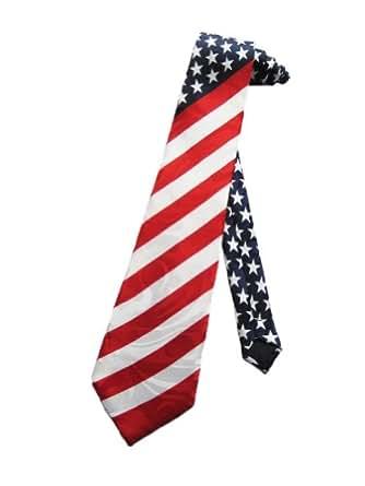 Steven Harris Mens American Flag USA Necktie - Red