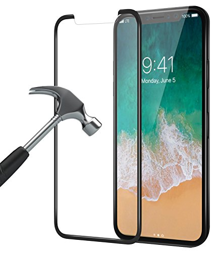 iphone X Panzerglas, Bovon Schutzfolie [3D Vollständige Abdeckung] [9H Härte] [Ultra Clear], Anti-Kratzer, Blasen, Tempered Displayschutzfolie für iphone X [2017 (Clear)