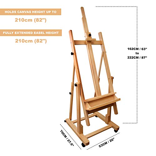 "H Frame Studio Easel 87.40""(7.28Ft) – XXL Adjustable Large Artist Wooden Easel – Ideal for Painting Drawing Wedding Outdoor Sketching Beechwood Display Exhibition (222cm)"