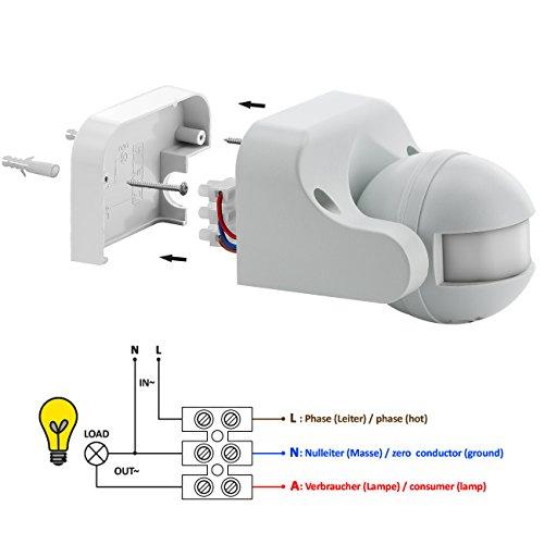 deleyCON PREMIUM Infrarot Bewegungsmelder – für Innen- und Außenbereich – 180° Arbeitsfeld – Reichweite bis 12m – einstellbarer Erfassungsbereich – IP44 Schutzklasse – Spritzwasser geschützt – Weiß - 3