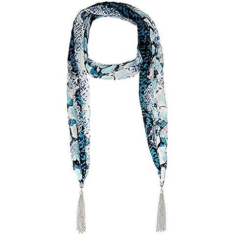 Lureme® stile bohemien epoca nappe stampa pelle tono rodio serpente collana pendente sciarpa (01003146-1) blu
