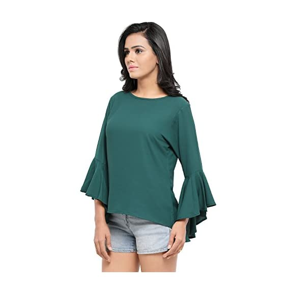 23cf85405a95b5 Serein Women s Top (Green Crepe top with Flute Sleeves) - Orawish