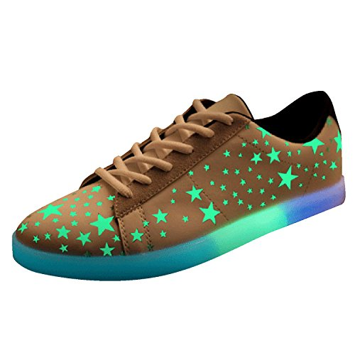 Oasap Women's Casual Printed Lace-Up Luminous Fluorescent Flat Shoes Noir