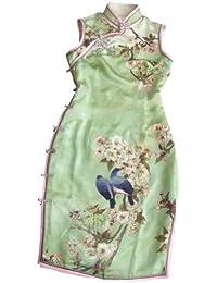 Prima Seda Artesania Cheongsam Qipao Vestido Chino Adaptado de Novia #127
