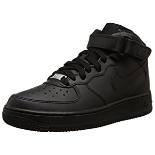 Nike AIR FORCE 1 MID (GS), Unisex-Kinder Sneakers, Schwarz , 39 EU