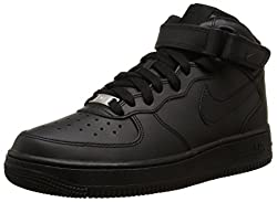 Nike AIR FORCE 1 MID (GS), Unisex-Kinder Sneakers, Schwarz,38 EU
