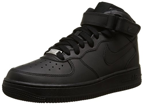 Nike AIR FORCE 1 MID (GS), Unisex-Kinder Sneakers, Schwarz (004 BLACK/BLACK), 39 EU (Air 1 Force Nike Kinder)