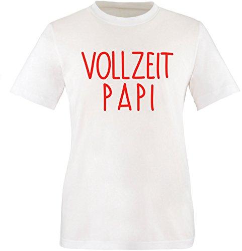 EZYshirt® Vollzeit Papi Herren Rundhals T-Shirt Weiß/Rot