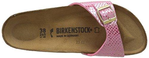 Birkenstock Madrid, Mules Femme Rose (Shiny Snake Pink)