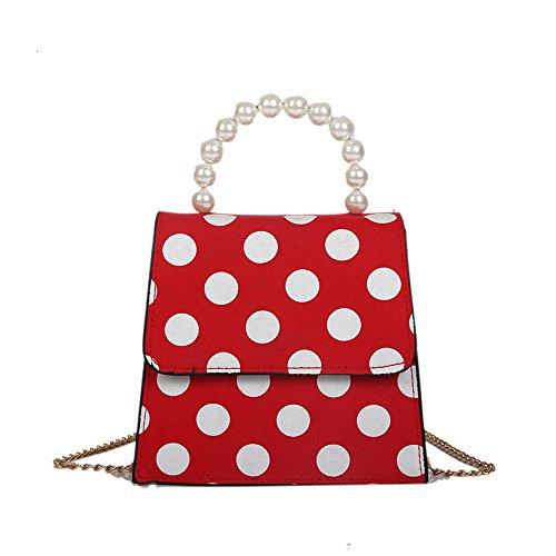 Zolimx Portable diagonal kleine quadratische Tasche, Damen Mode Dot Printed Pearl Umhängetasche Handtasche (Rot)