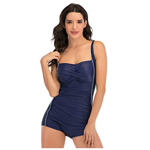TwoCC Mujer Tankini Fruncido Push Up Acolchado Traje De Baño De Una Pieza Bikini Ropa De Playa Traje De Baño Traje De Baño Monokini (Azul, M)