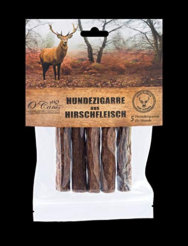 O´Canis Hunde-Zigarre aus Hirschfleisch 5 Stück - New 2cm mehr Fleisch !