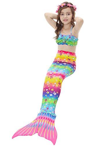 Das Beste Mädchen Meerjungfrauen Bikini Kostüm  Meerjungfrau Schwimmanzug Badeanzüge   Tankini heiß Rosa Gr. 140 (Beste Sportbekleidung Kostüm)