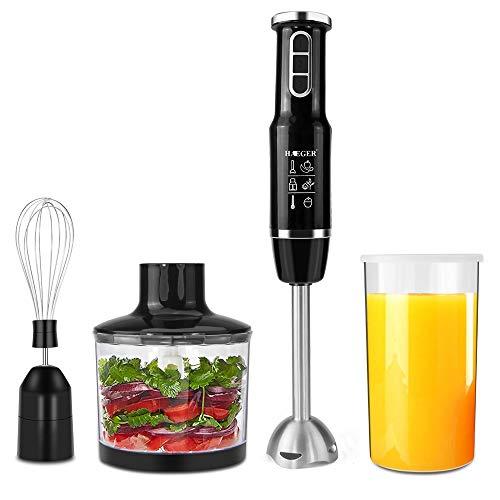 Mixeurs plongeants, Mélangeur électrique multifonctionnel 4 en 1 de 750 watts avec accessoire, ensemble comprenant un fouet, un bol hachoir de 500 ml et un récipient de 600 ml pour aliments