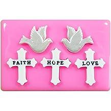 Cruz de la esperanza y del amor de la fe y palomas de la paz Molde