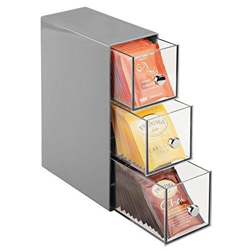 mDesign Küchen Organizer mit 3 Schubladen - Aufbewahrungsbox für Teebeutel, Kaffeepads,...