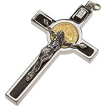 Colgante Cruz de San Benito acero, plata 925, oro 18K, 8 x 4 cm (2.96 x 1.70 inc.)